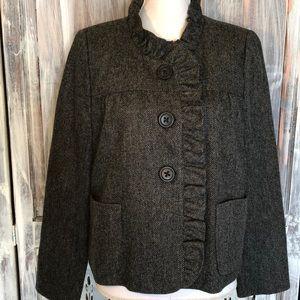J. Crew Fiona Luxe Wool Ruffle Jacket